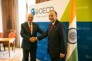 Angel Gurría, Secretary-Gerneral of the OECD, and Arun Jaitley, Minister of Finance and Corporate Affairs, at the OECD Ministerial Council Meeting in Paris in June 2017.