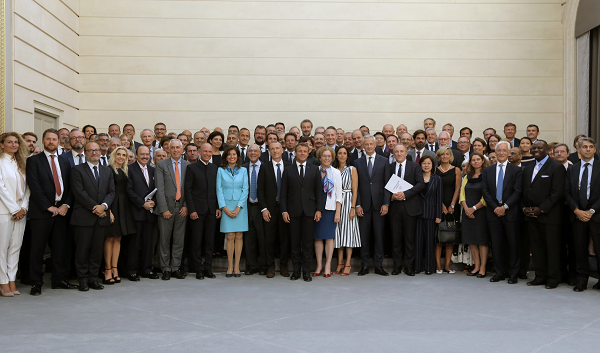 23/08/2019 - French President Emmanuel Macron, OECD Secretary-General Angel Gurria with CEOs of major international companies who have signed the pledge to tackle inequality and promote diversity in their workplaces.